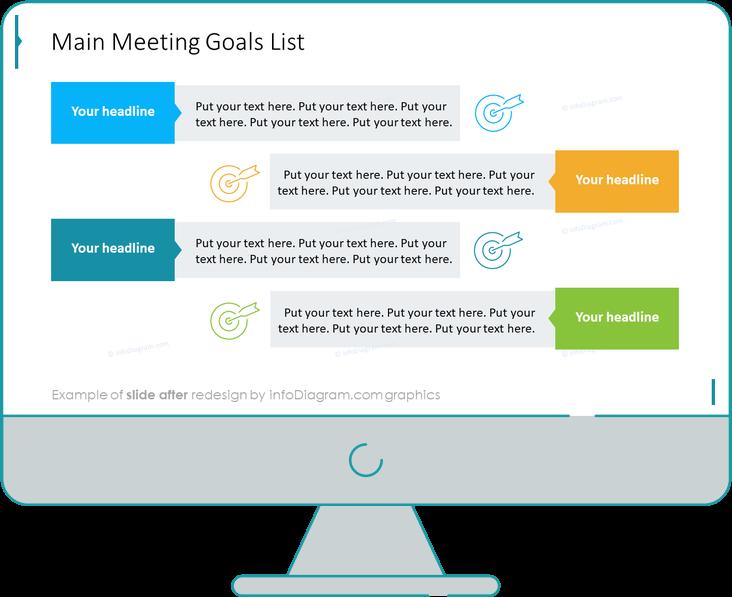 Meeting Review Goals List slide after redesign