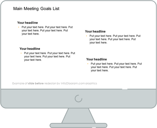 Meeting Review Goals List slide before redesign