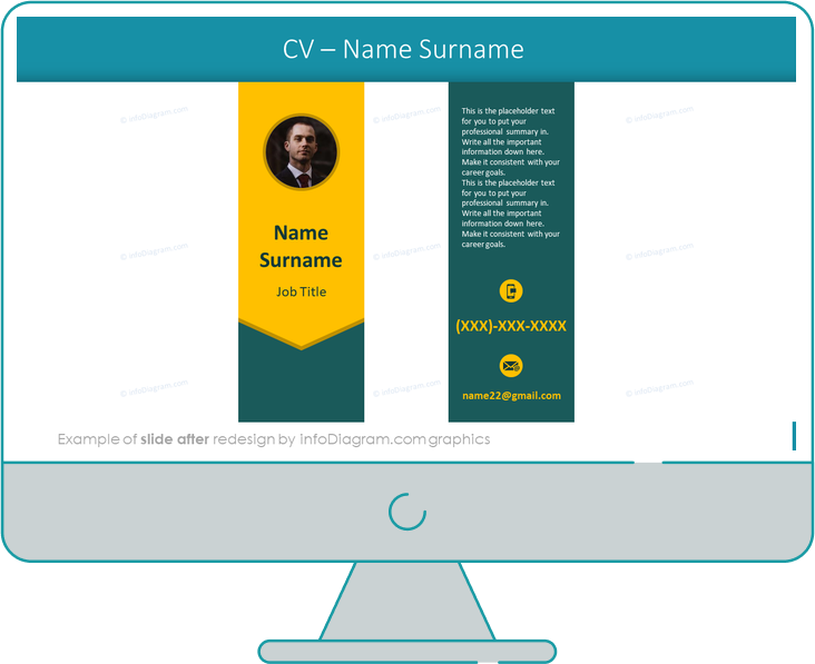 cv name and surname section slide after infodiagram redesign for powerpoint