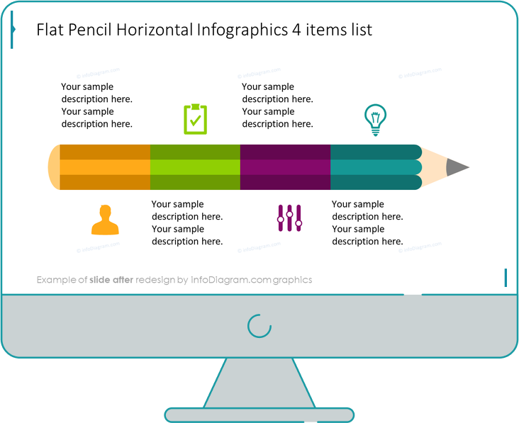 Flat Infographic Pencil Template Slide after redesign