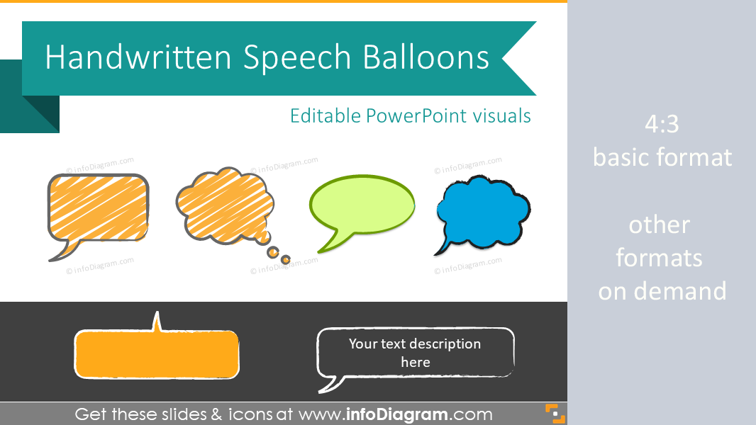 Speech Balloons Handwritten Bubbles Sketches (PPT clipart shapes)