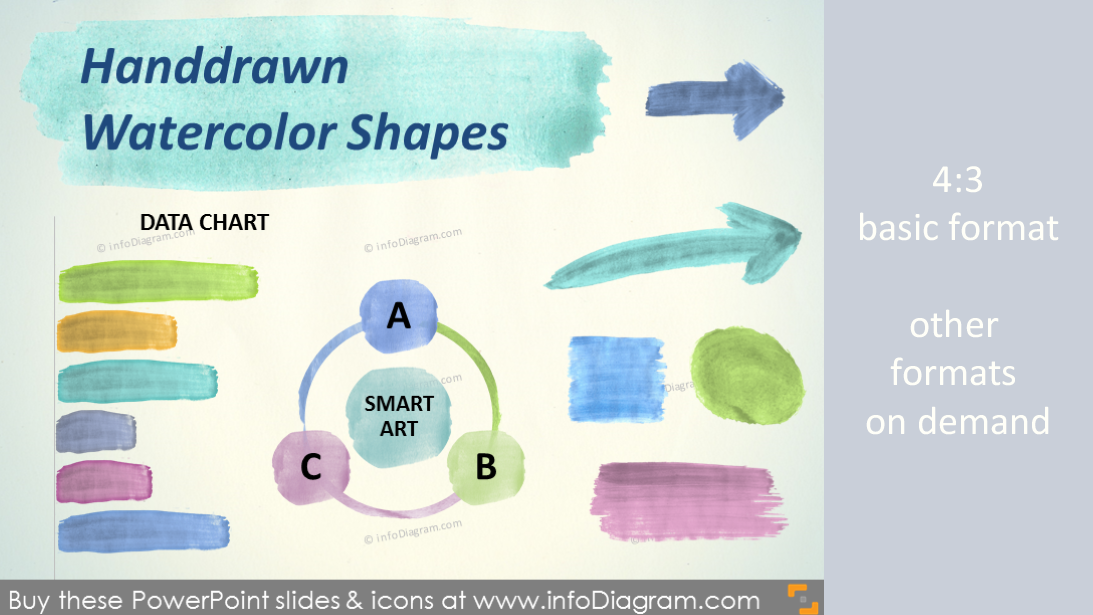 Handdrawn Watercolor Shapes Aquarelle Arrow Brush Stripe Powerpoint