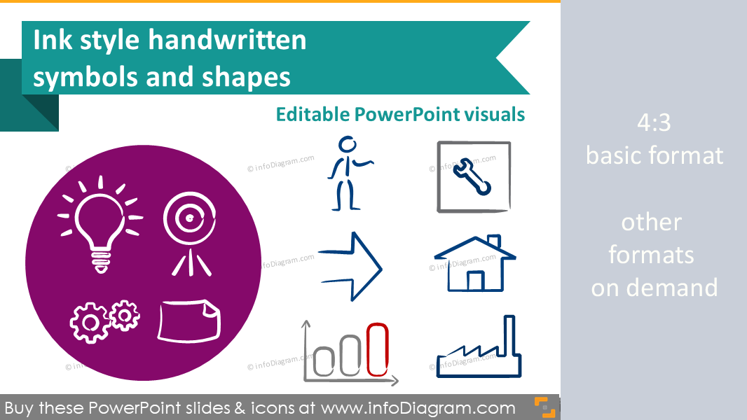 Handwritten sketch ink symbols for PowerPoint