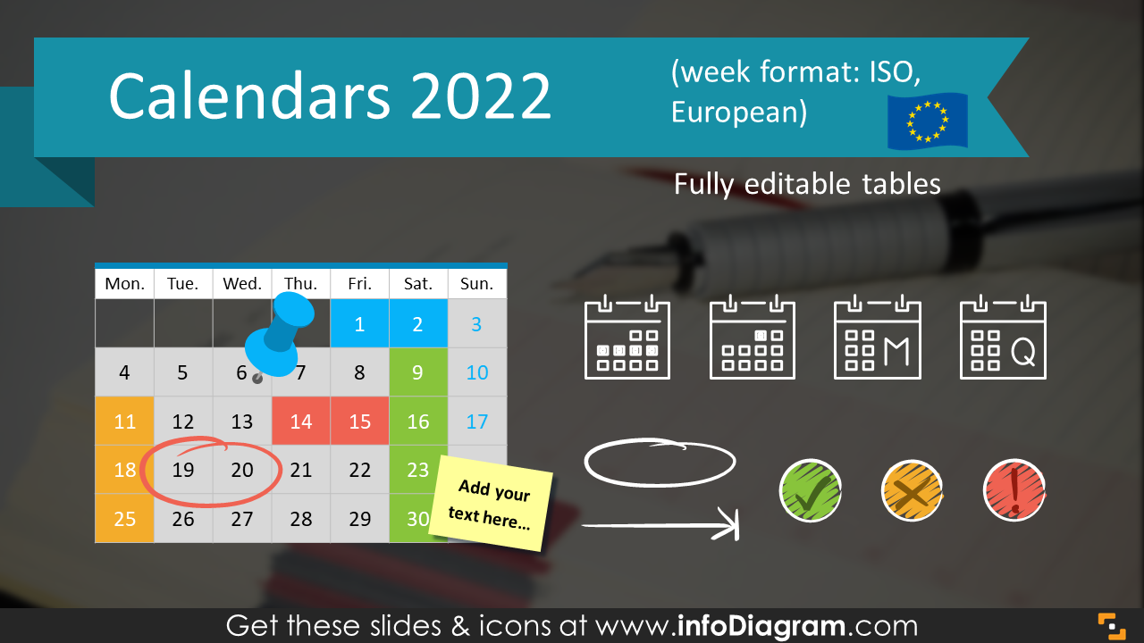 Calendars 2017 PowerPoint EU ISO Timeline Graphics PPT tables icons