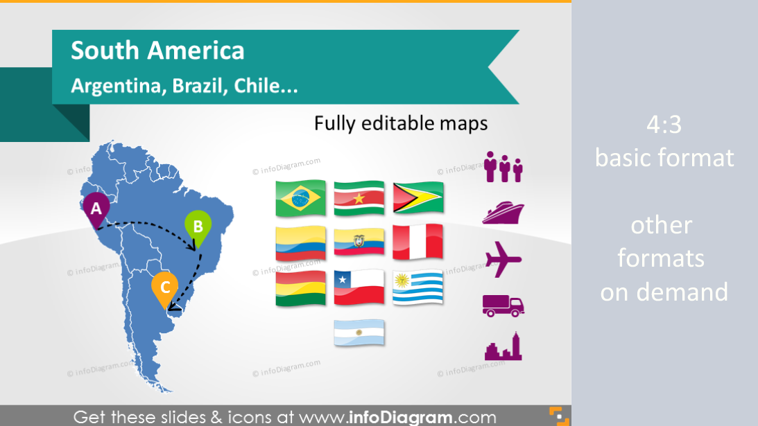 editable ppt maps south america argentina brazil chile countries
