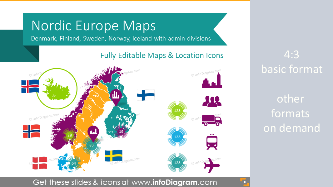 Nordic Europe Union Maps PPT editable Sweden Denmark Norway Finland ...