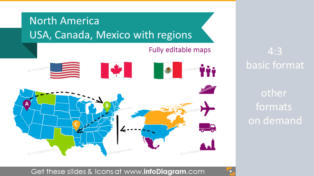 Editable maps icons usa canada mexico north america continent ppt north america maps usa canada mexico population gdp transport icons toneelgroepblik Image collections