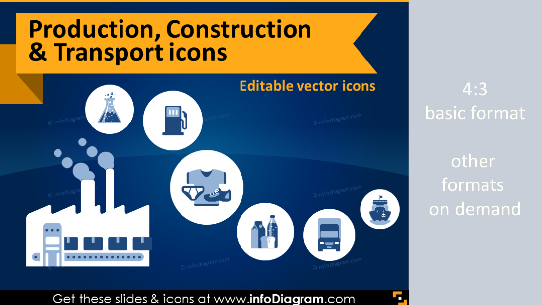 production industry icons ppt construction transport