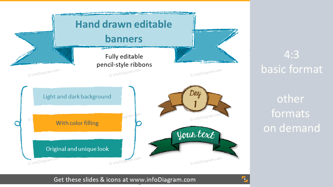 Handdrawn Banners Ribbon Infographics Titles Powerpoint Editable Icons