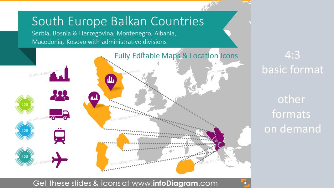 balkan ppt maps of serbia kosovo bih montenegro macedonia