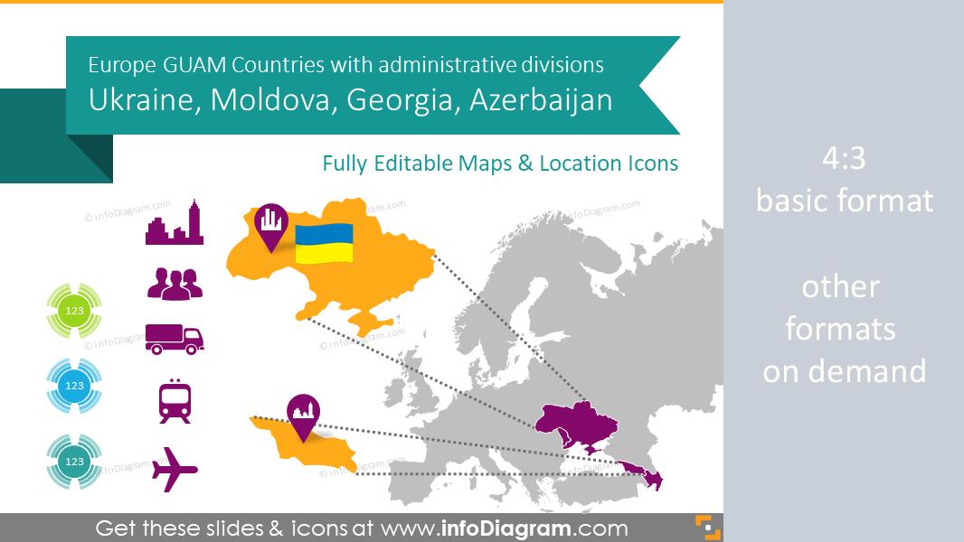 ukraine georgia guam countries maps with administrative regions ppt editable
