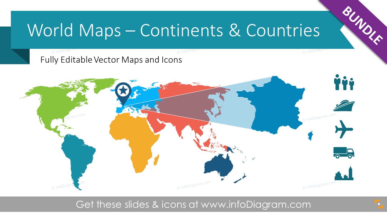 Editable World Maps America Europe Asia Continent Geo Icons PPT