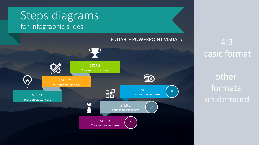 Simple flat design powerpoint templates steps diagram infographics flat ppt template toneelgroepblik Gallery