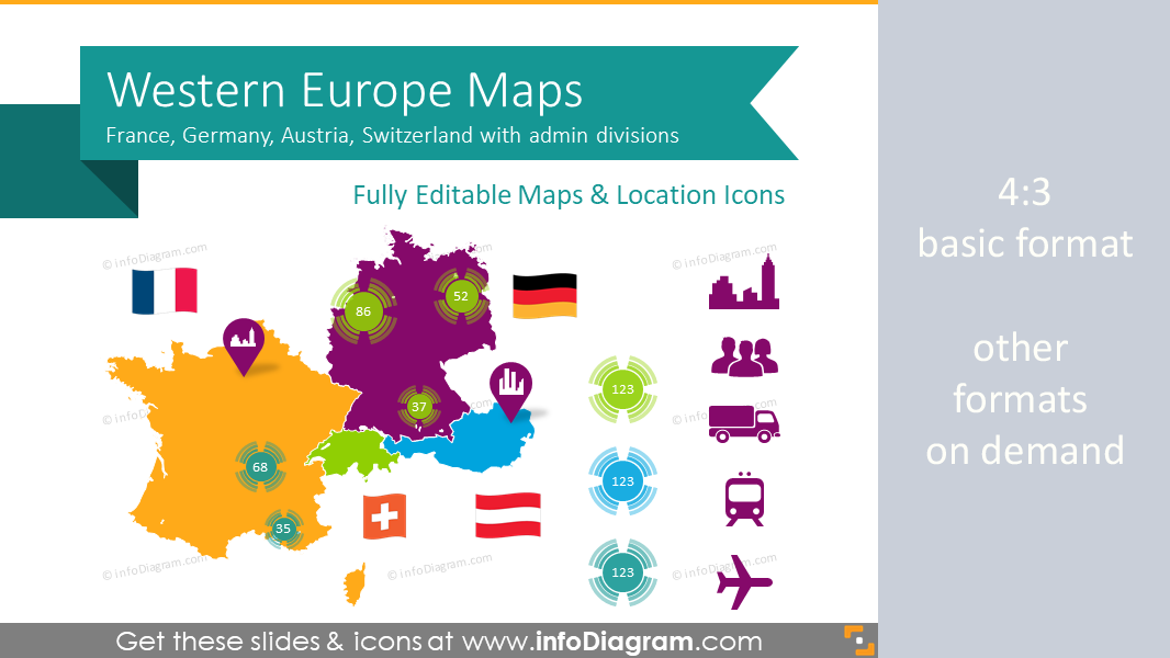 Map Of Germany France.Germany France Maps Western Europe Ppt Editable Switzerland Austria Regions