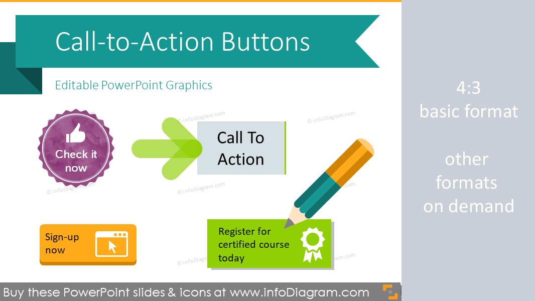 14+14 DIY Call to Action Buttons PowerPoint Shapes Actionablee Icons