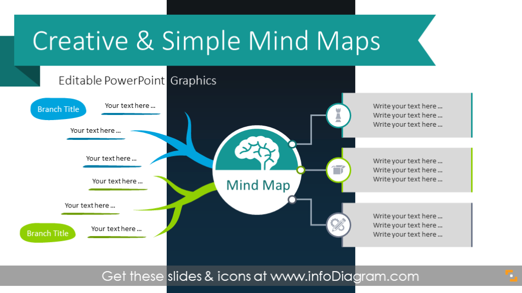 11 Creative Mind Map Diagrams Powerpoint Template Free Hand