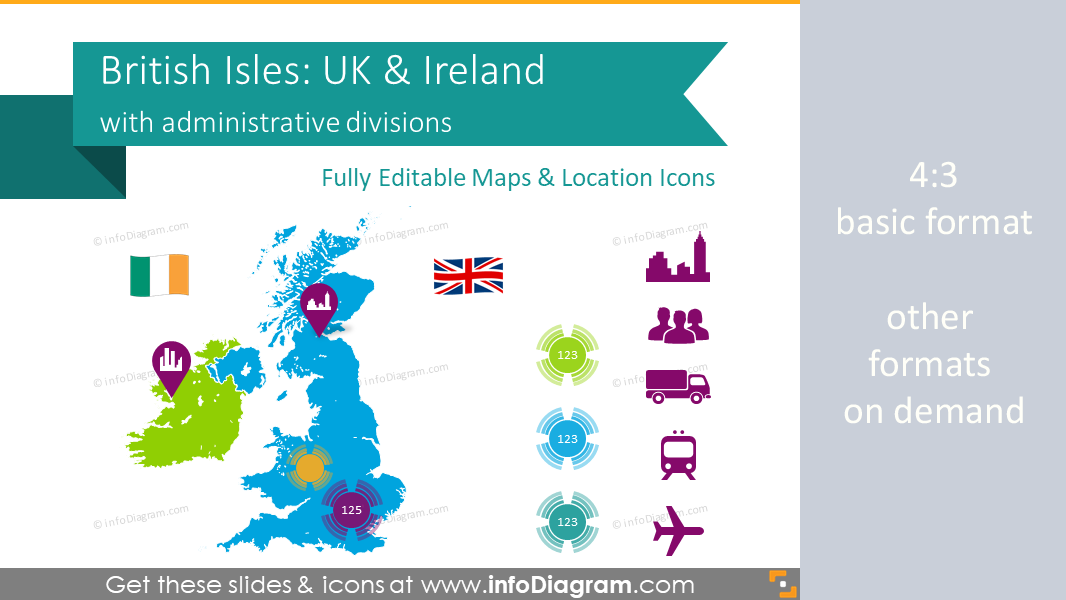 Map Of Uk Showing Regions.British Isles Maps Of Uk Counties Ireland Ppt Editable Administrative Regions