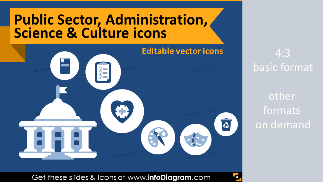 Industry icons: Public Sector, Administration, Science & Culture (flat PPT clipart)
