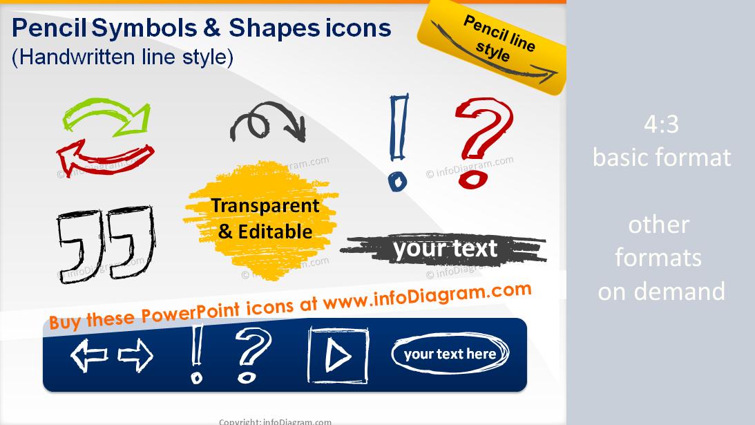 Handdrawn Powerpoint Arrows Symbols Pencil Sketch Signs