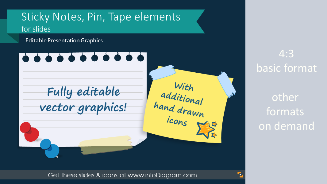 ppt pictures sticky note pin tape elements for slides, Modern powerpoint