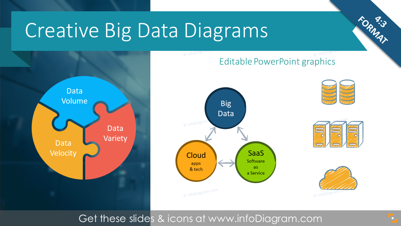 Essential 17 Big Data Diagrams & Icons to explain SaaS, Cloud Apps, Data  sizes