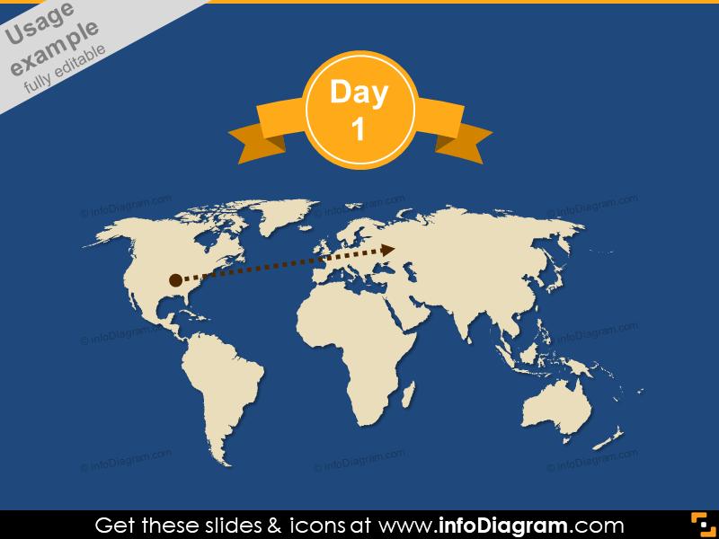 World Map Day Flat Ribbon Banner PowerPoint dark