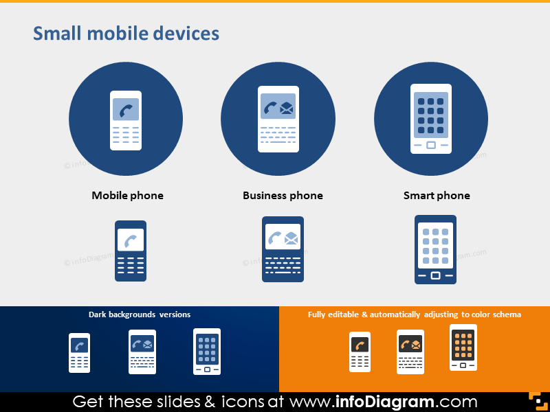 icon mobile phone smartphone business phone flat PPT clipart
