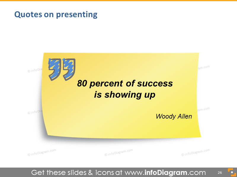 presenting quote woody allen 80 percent success showing up quotation icon slide