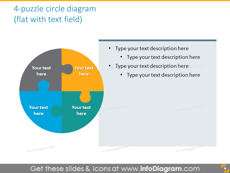 puzzle circle quadrant diagram text field powerpoint