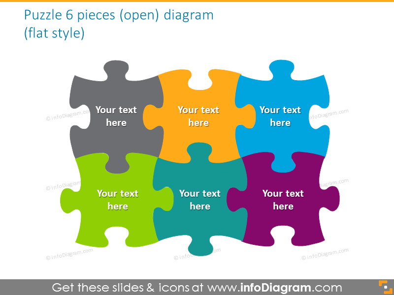 puzzle 6 pieces open diagram powerpoint