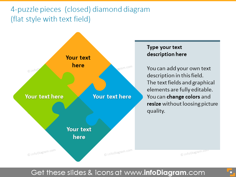 diamond puzzle textfield quadrant gradient ppt shapes