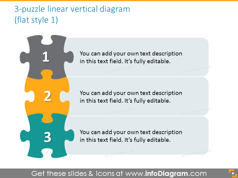 jigsaw puzzle vertical 3 steps diagram powerpoint clipart