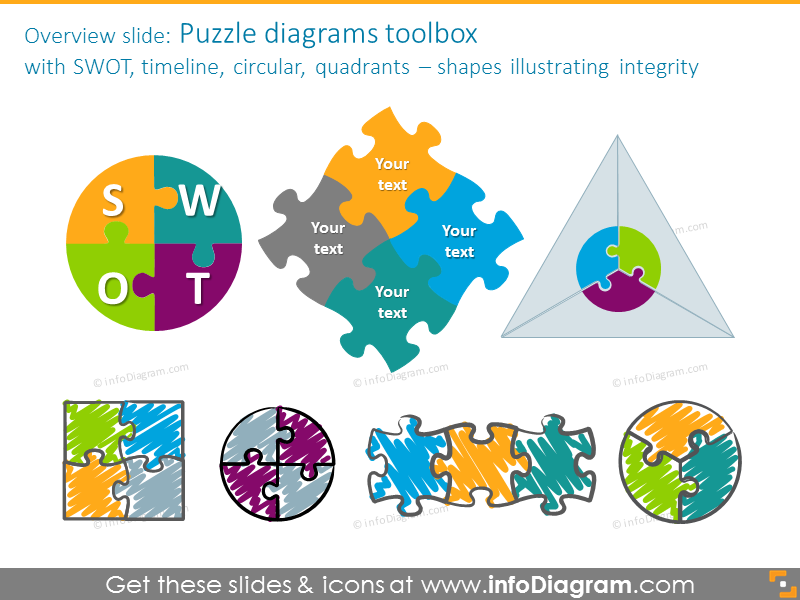 puzzle integrity diagram rectangle 4 pieces powerpoint clipart shapes