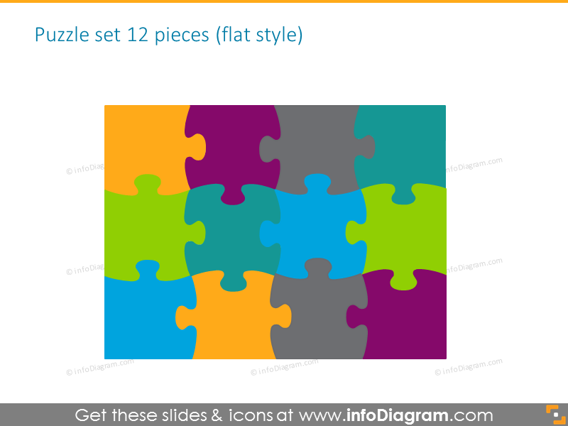 puzzle set diagrams gradient powerpoint clipart 3 by 3 pieces