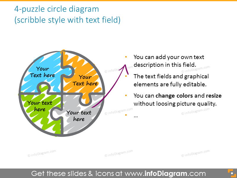 puzzle circle quarter third diagram colors red grey ppt icon