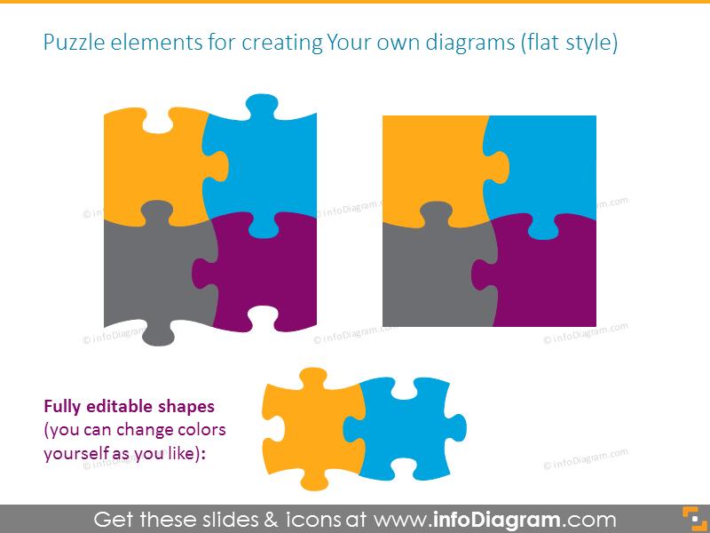 puzzle diagrams parts gradient powerpoint clipart 12 pieces