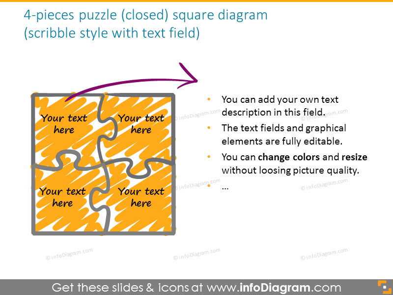 puzzle diagram colors editable vector shapes handdrawn gradient
