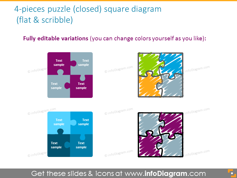 diamond jigsaw puzzle shape quadrant gradient shine powerpoint