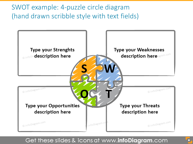 puzzle third circle diagram powerpoint shine gradient shape