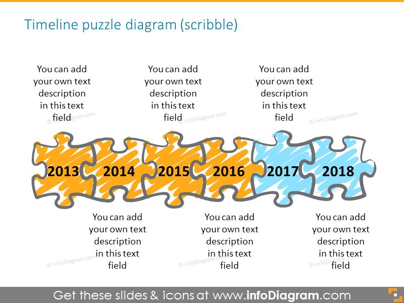 Puzzle diagrams elements gradient powerpoint clipart