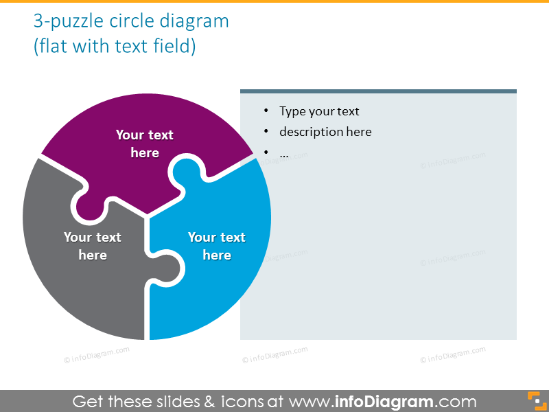 3 puzzle diagram decent gradient powerpoint