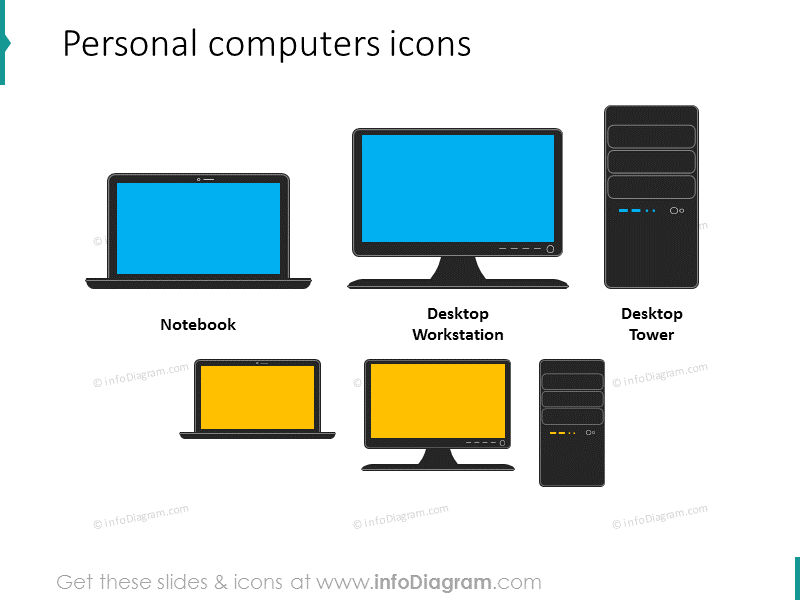 personal computer desktop workstation tower ppt clipart icon