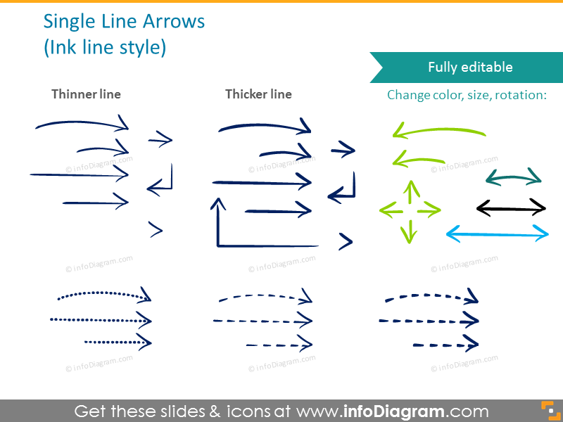 Single arrows illustrated in ink style