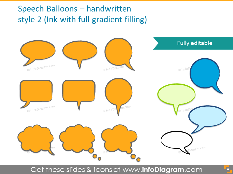 Ink speech bubbles with full gradient filling