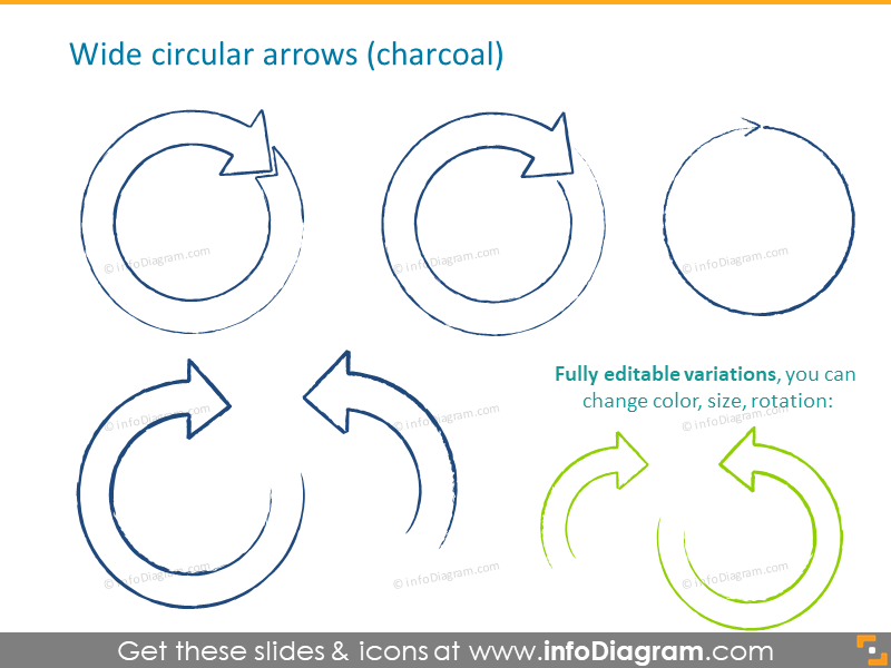 sketch charcoal arrows wide full fill ppt icons