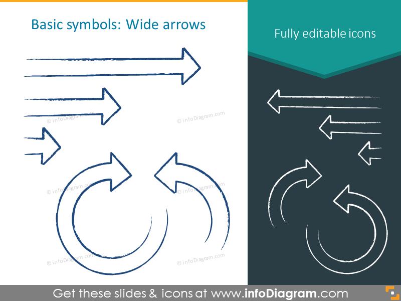 Charcoal wide arrows symbols
