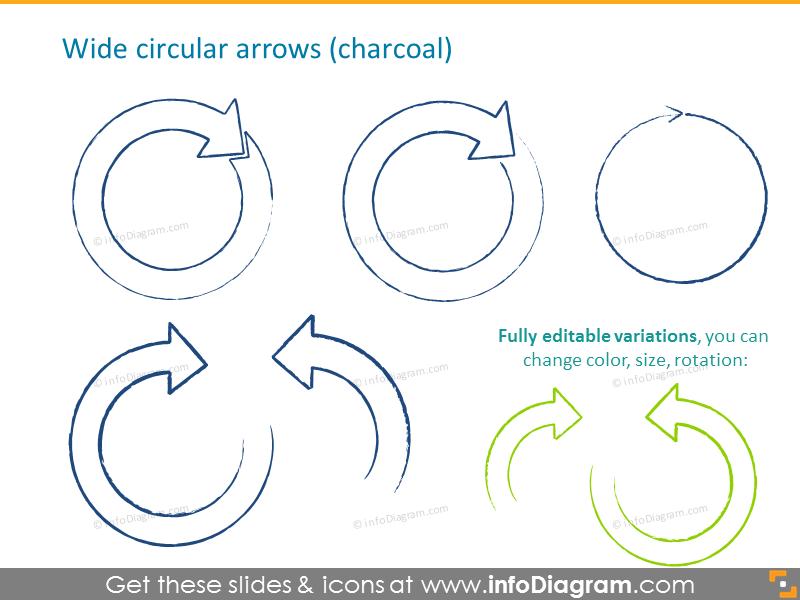 Wide circular arrows