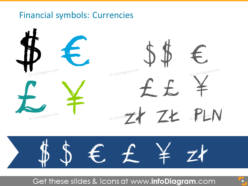 Currencies handdrawn symbols