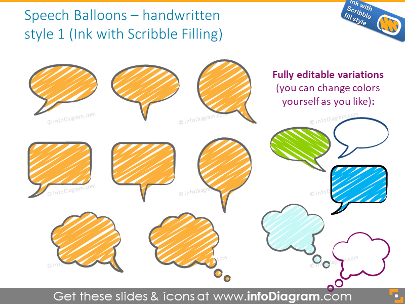 speech balloons handwritten ink scribble powerpoint icons