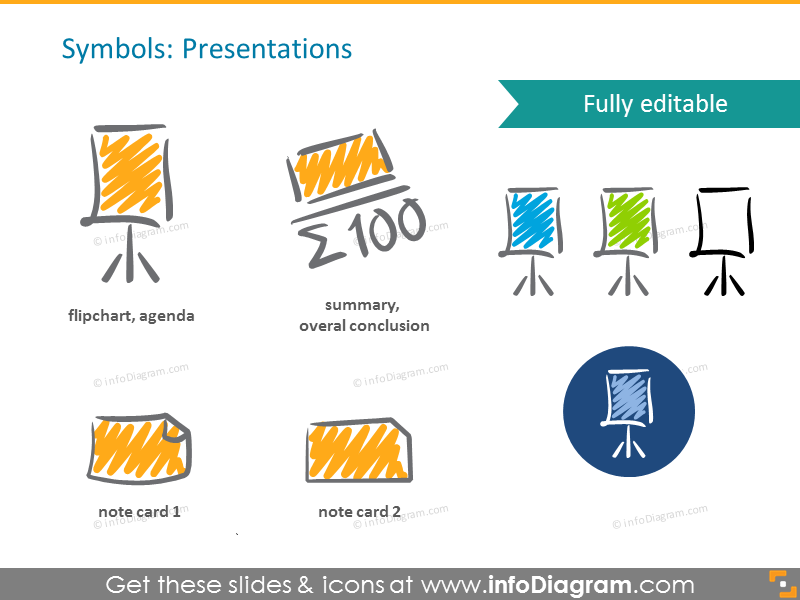 Scribble presentations icons: summary, note, flipchart